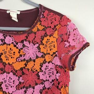 Sundance Crochet Lace Floral Overlay Top - Size L